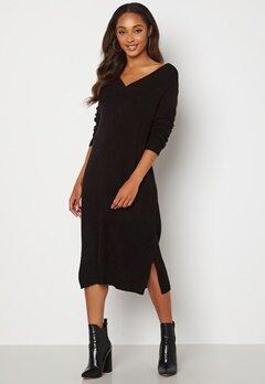 VILA Madelia V-Neck L/S Knit Dress Black Bubbleroom.fi