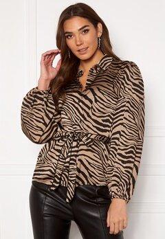 VILA Malas L/S Shirt Dusty Camel W Zebra Bubbleroom.fi