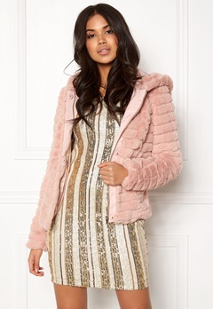 VILA Maya Faux Fur Jacket Peach Whip Bubbleroom.fi