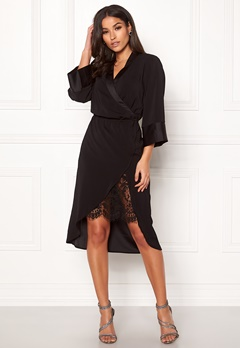 VILA Milena Lace 3/4 Dress Black Bubbleroom.fi