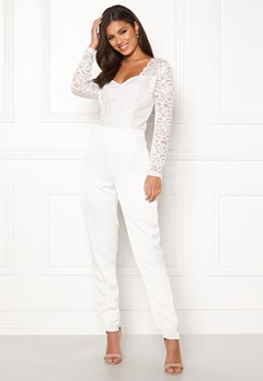 VILA Milena L/S Jumpsuit Cloud Dancer Bubbleroom.fi