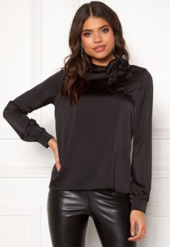 VILA Milena L/S Top Black Bubbleroom.fi