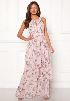 VILA Nola S/L Maxi Layer Dress Rose Smoke/Flower Bubbleroom.fi