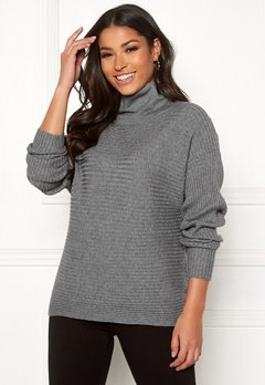 VILA Oliv Knit High Neck Top Medium Grey Melange Bubbleroom.fi