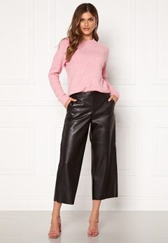 VILA Pen RWRX Cropped Coated Pants Black Bubbleroom.fi