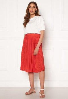 VILA Pliss Midi Skirt Flame Scarlet Bubbleroom.fi