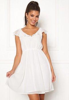 VILA Rannsil S/L Short Dress Cloud Dancer Bubbleroom.fi