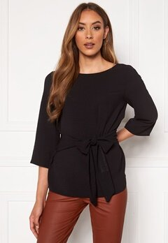 VILA Rasha Boatneck 3/4 Tie Top Black Bubbleroom.fi
