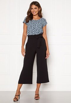 VILA Rasha HW Cropped Wide Pant Black Bubbleroom.fi