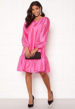 VILA Richter L/S Flounce Dress Raspberry Rose Bubbleroom.fi