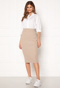 VILA Ril Knit HW Pencil Skirt Simply Taupe Bubbleroom.fi