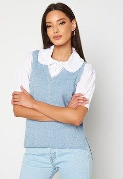 VILA Ril Knit Rib V-Neck Vest Ashley Blue bubbleroom.fi
