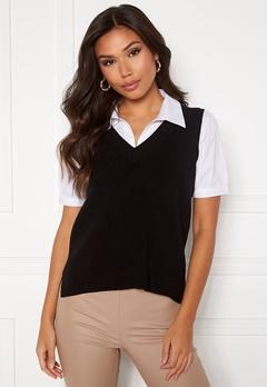 VILA Ril Knit Rib V-Neck Vest Black Bubbleroom.fi