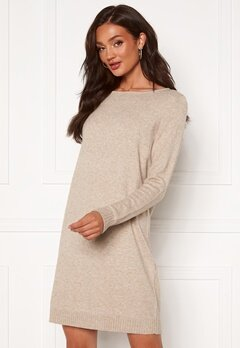 VILA Ril L/S Knit Dress Natural Melange Bubbleroom.fi