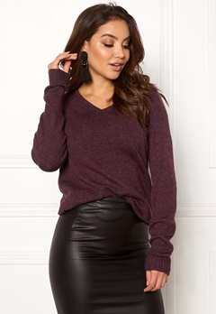 VILA Ril L/S V-neck Knit Top Winetasting Bubbleroom.fi