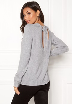 VILA Ril Open Back Knit Top Light Grey Melange Bubbleroom.fi