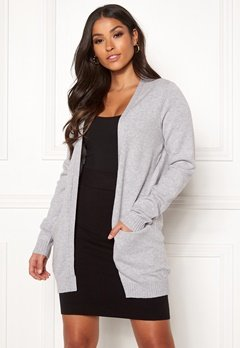 VILA Ril Open Knit Cardigan Light Grey Melange Bubbleroom.fi
