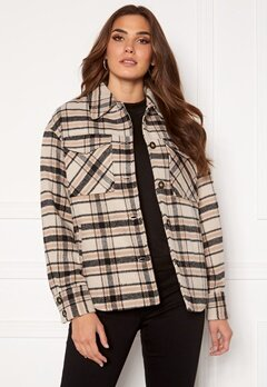 VILA Rubi Check Shirt Jacket Birch Checks Bubbleroom.fi