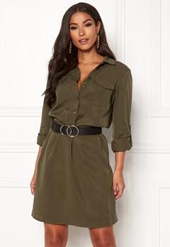 VILA Safarina L/S Dress Dark Olive Bubbleroom.fi