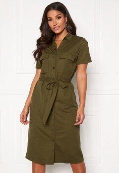 VILA Safina S/S Short Dress Noos Dark Olive Bubbleroom.fi
