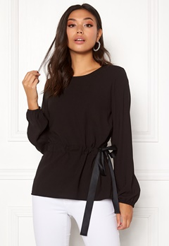 VILA Sarina L/S Top Black Bubbleroom.fi