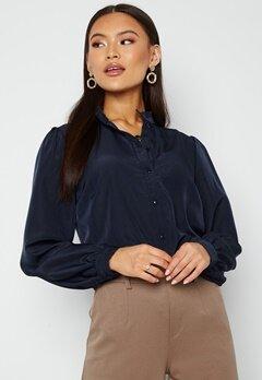 VILA Simple L/S Button Shirt Navy Blazer Bubbleroom.fi