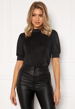 VILA Sinty S/S Top Black, Det: Solid Bubbleroom.fi