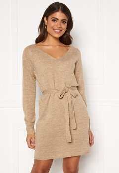 VILA Suril L/S V-Neck Short Knit Dress Nomad Bubbleroom.fi