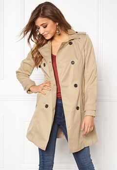 VILA Three Long Trenchcoat Soft Camel Bubbleroom.fi