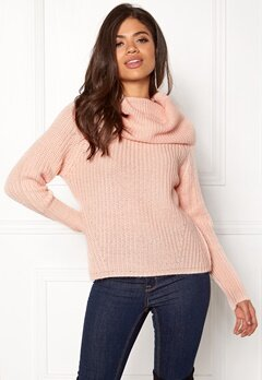 VILA Viview Cowlneck Knit Top Peach Whip Bubbleroom.fi