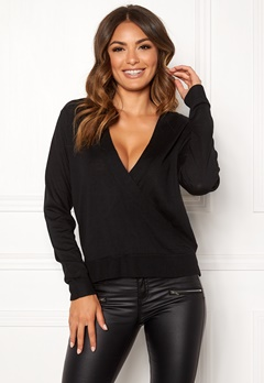 VILA Wendis Wrap Knit Top Black Bubbleroom.fi