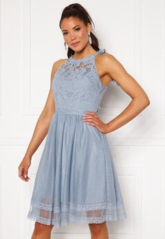 VILA Zinna New S/L Dress Ashley Blue Bubbleroom.fi