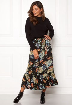 Sisters Point Vota Skirt 001 Black/Flower Bubbleroom.fi