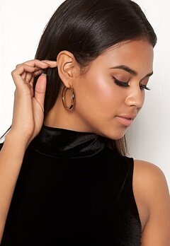 WOS Flat Gold Hoops Earrings Guld Bubbleroom.fi