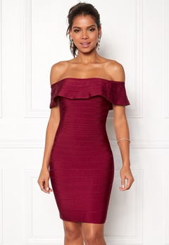 WOW COUTURE Sonnet Bandage Mini Dress Merlot Bubbleroom.fi