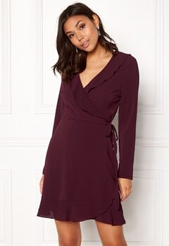 John Zack Wrap Frill mini Dress Wine Bubbleroom.fi
