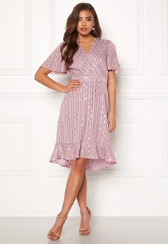 Y.A.S Dawny S/S Dress Dawn Pink W Gold Bubbleroom.fi