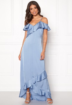 Y.A.S Fielle Off Shoulder Maxi Dress Delia Robbia Blue Bubbleroom.fi