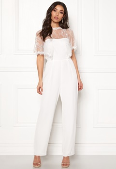 Y.A.S Flower Cape Jumpsuit Star White Bubbleroom.fi