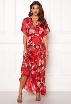 Y.A.S Jungle S/S Maxi Dress High Risk Red Bubbleroom.fi