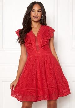 Y.A.S Malma Lace Dress High Risk Red Bubbleroom.fi