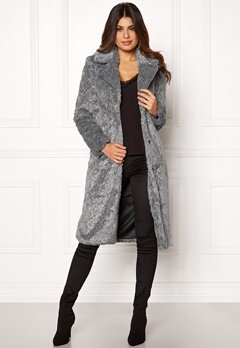 Y.A.S Pala Faux Fur Coat Dark Grey Melange Bubbleroom.fi
