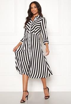 Y.A.S Savanna SS Midi Dress Star White, Stripes Bubbleroom.fi