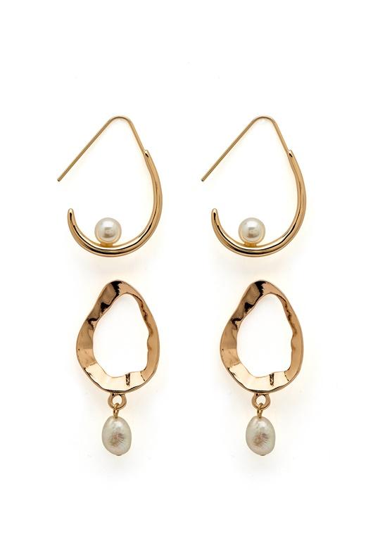 tehdasmyymälät näyttää hyvältä kengät myynti halpa myytävänä VERO MODA Blia Earrings 2-pack Gold Colour - Bubbleroom