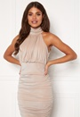 Sparkle High Neck Rouch Midi Dress