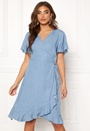 Wrap Frill Denim Dress