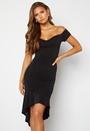 Glitter Off Shoulder Frill High Low Dress