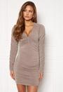 Rouched V Neck Mini Dress