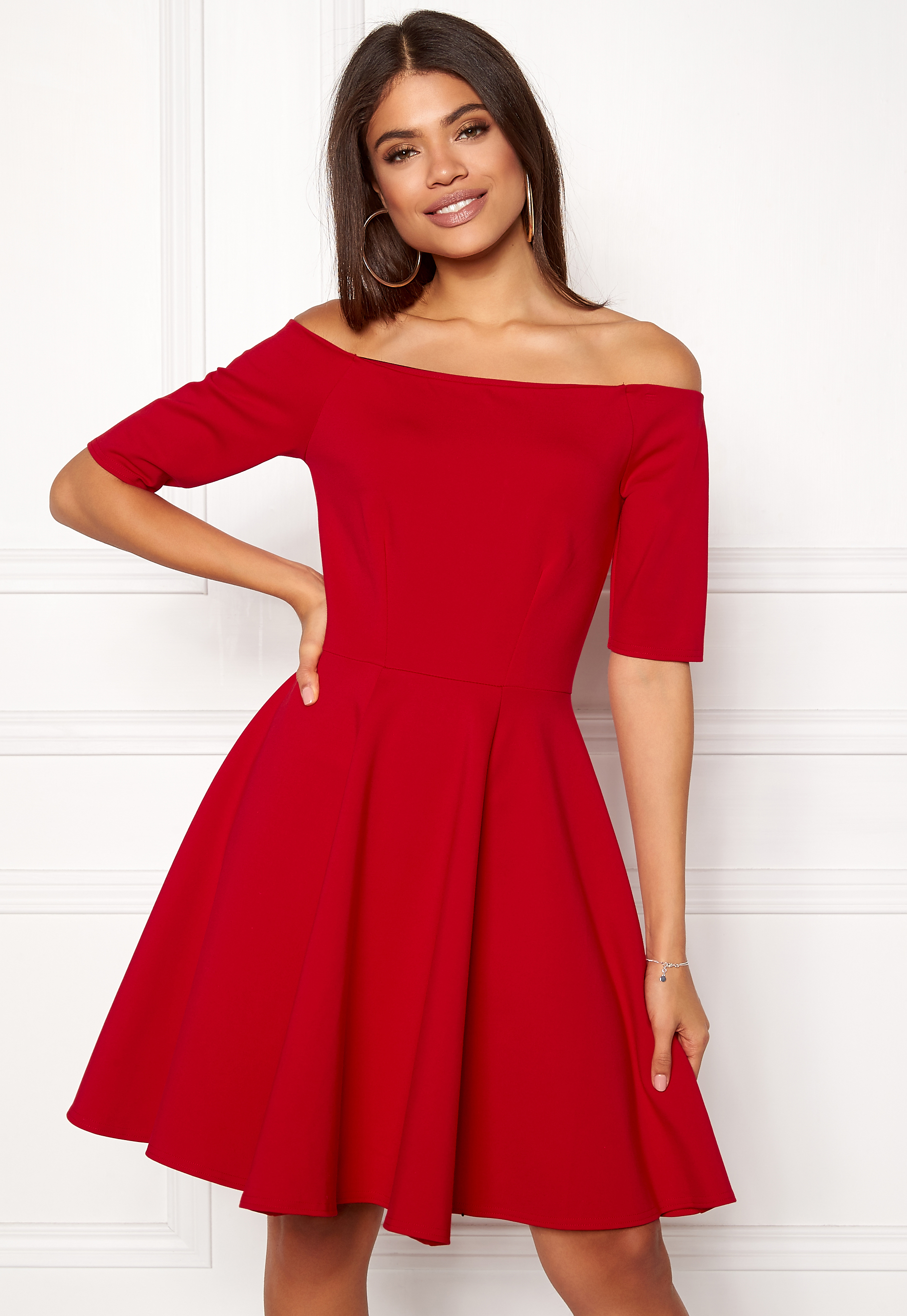 BUBBLEROOM Line frill dress Red Bubbleroom