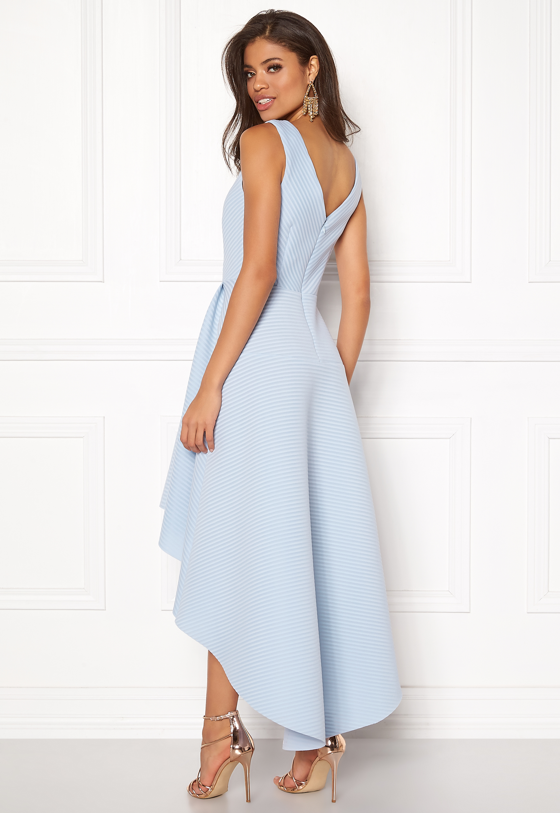 Goddiva Sleeveless High Low Dress Light Blue Bubbleroom